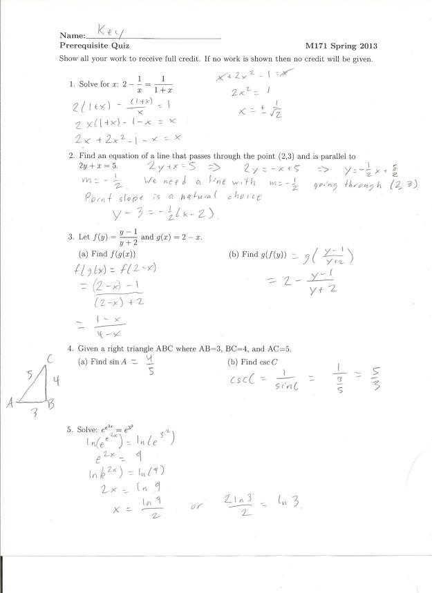 prereq quiz solution