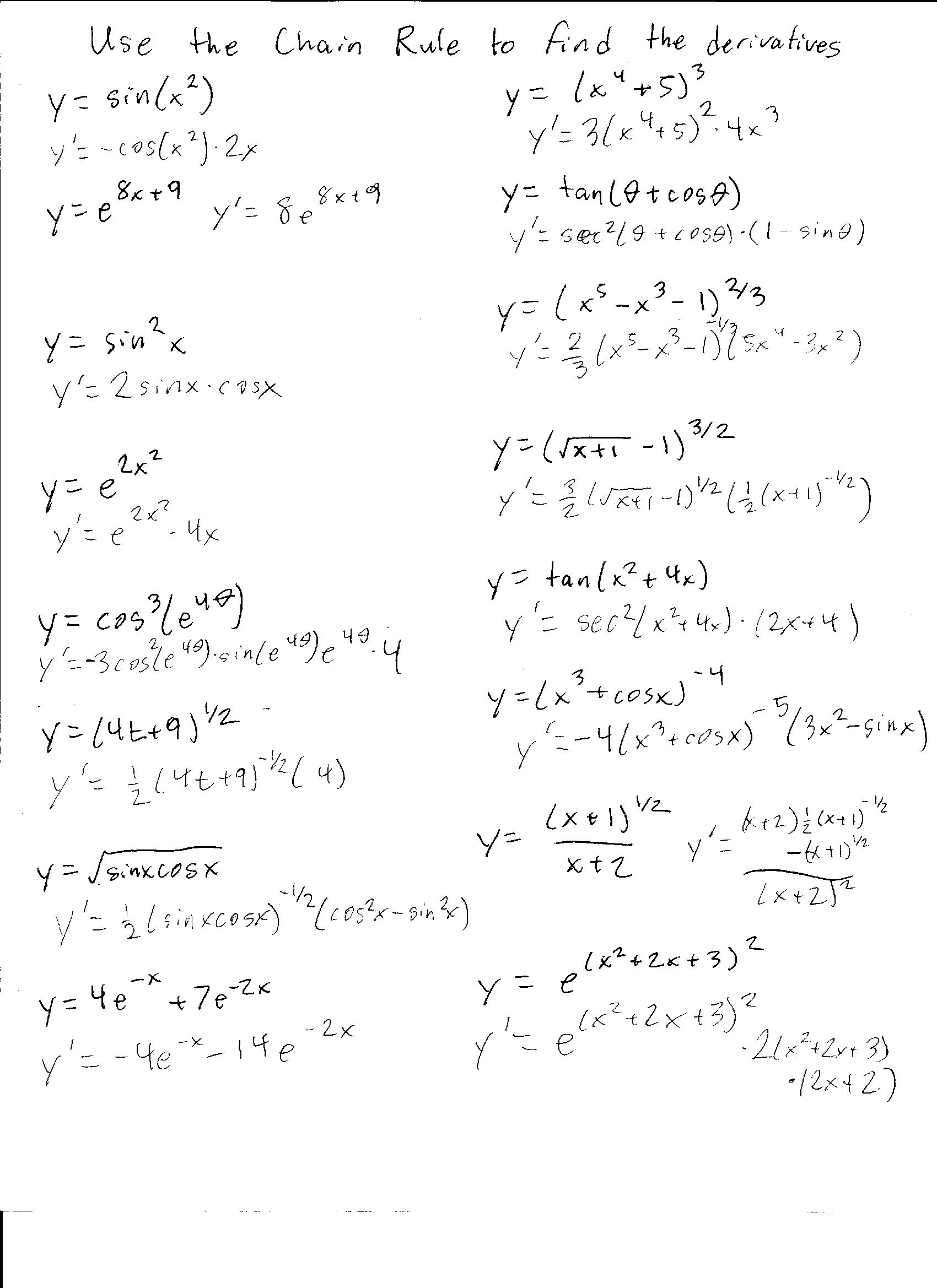 Worksheets Chain Rule Worksheet quiz 5 and 6 solutions worksheet eric lake chain rule worksheet