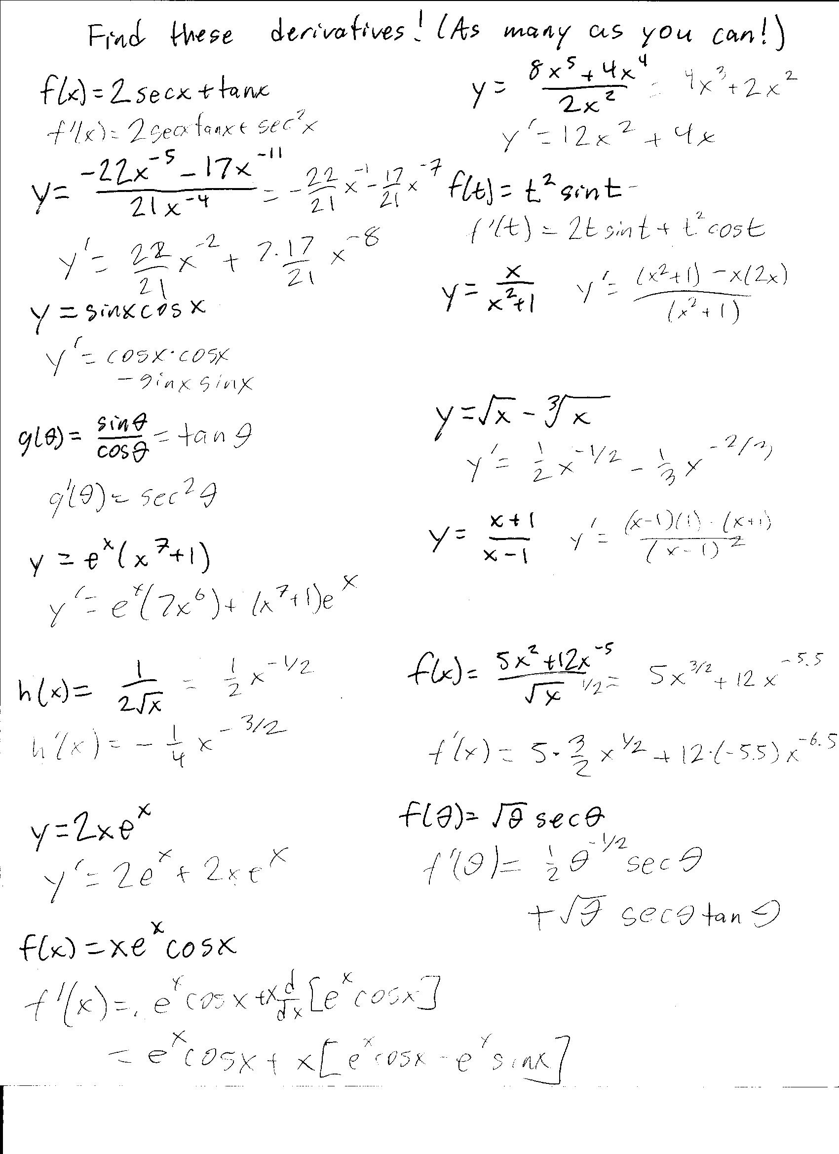 Quiz 5 and 6 Solutions Worksheet Solutions – Derivatives Worksheet
