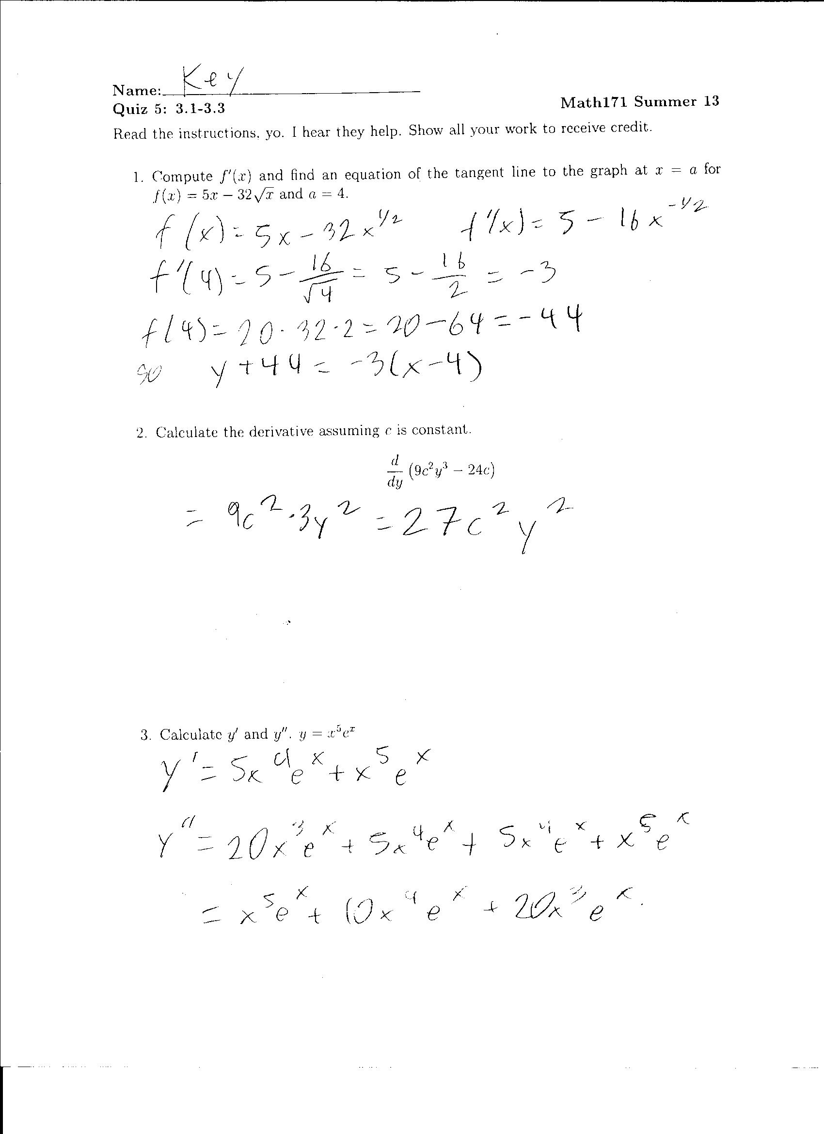 Free Worksheet Chain Rule Worksheet quiz 5 and 6 solutions worksheet eric lake solution derivative 1 chain rule worksheet