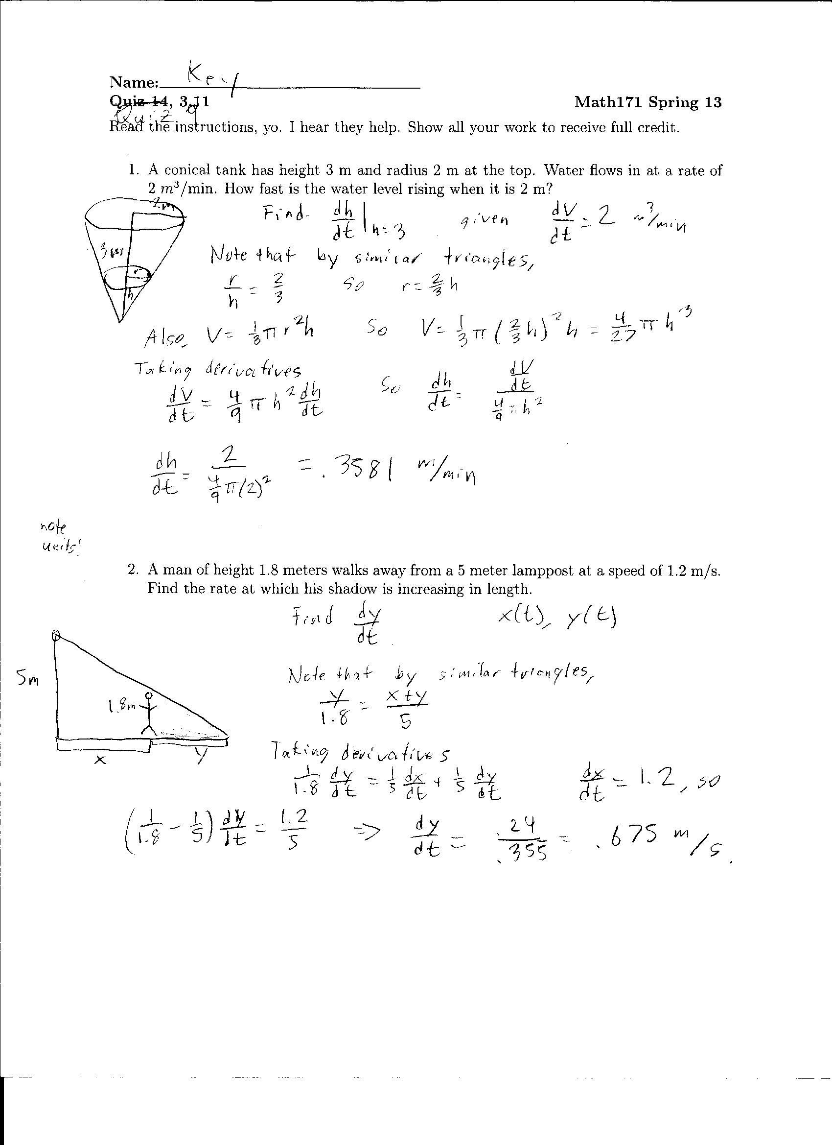 Worksheets Related Rates Worksheet quiz 7 9 solutions and lh worksheet answers eric lake summer