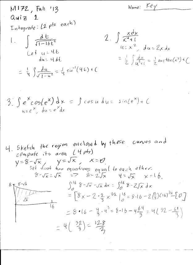 m172 quiz 1 solutions