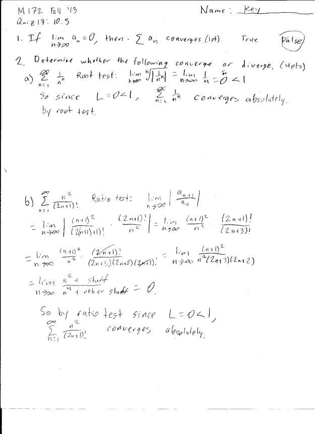 m172 quiz 13 solution